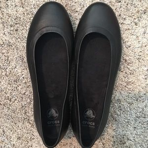 Crocs Black Leather Work Shoes - Size 9